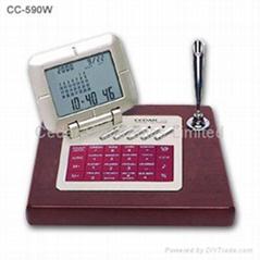 紅木電子台曆(世界時鐘萬年曆計算器)