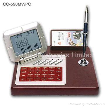 Wooden Desktop LCD Calendar Calculator with World Time Clock 3