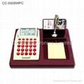 Wooden Desktop LCD Calendar Calculator with World Time Clock 4