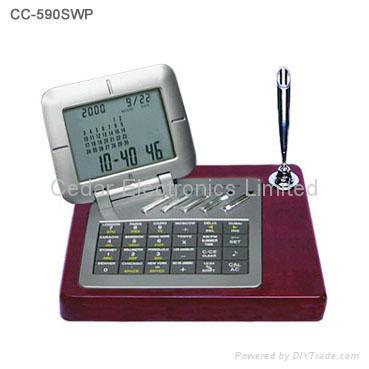 LCD Calendar Calculator On Wooden Base 3