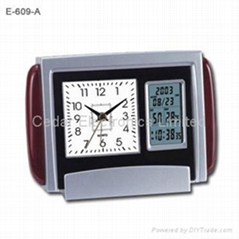 Dual Display Wooden Desk Clock with LCD