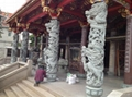 青石浮雕龙柱带十八罗汉