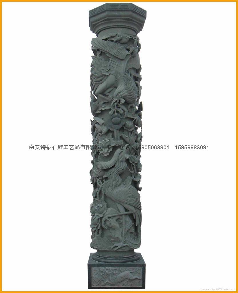 青石浮雕龍柱帶十八羅漢 4