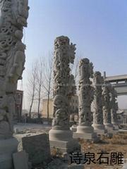 青石龙柱批发 石雕厂家直销