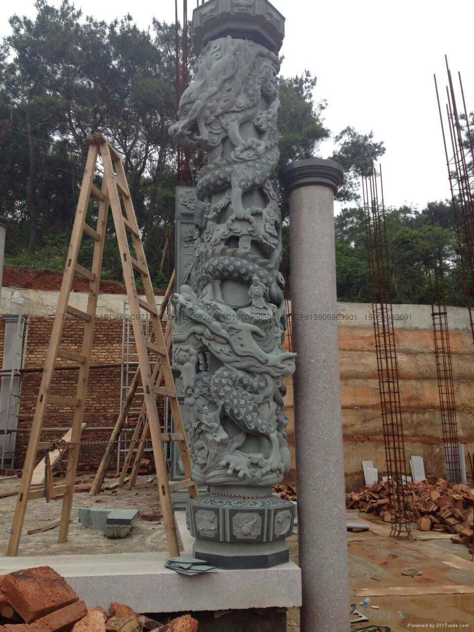 厂家直销(寺庙雕刻)龙柱-青石盘龙柱 9