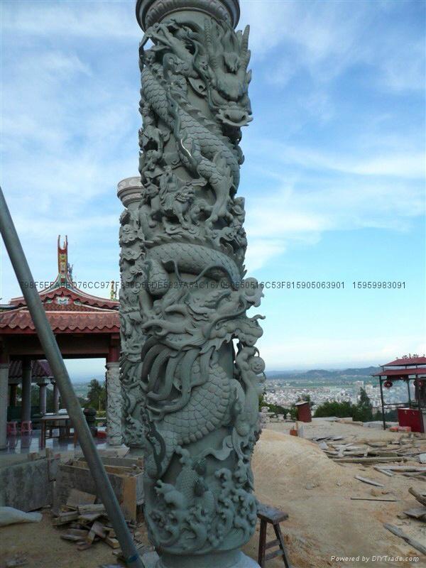 厂家直销(寺庙雕刻)龙柱-青石盘龙柱 12