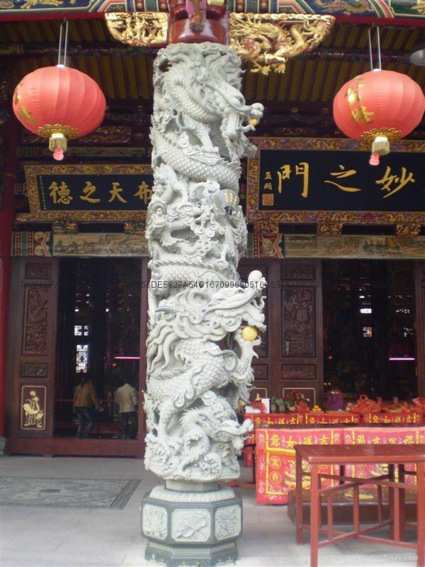 厂家直销(寺庙雕刻)龙柱-青石盘龙柱 15