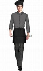 快餐廳男女服務員工衣三件套(可配帽子)