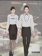 深圳新款时尚印花面料快餐厅餐饮工衣前厅工衣订做