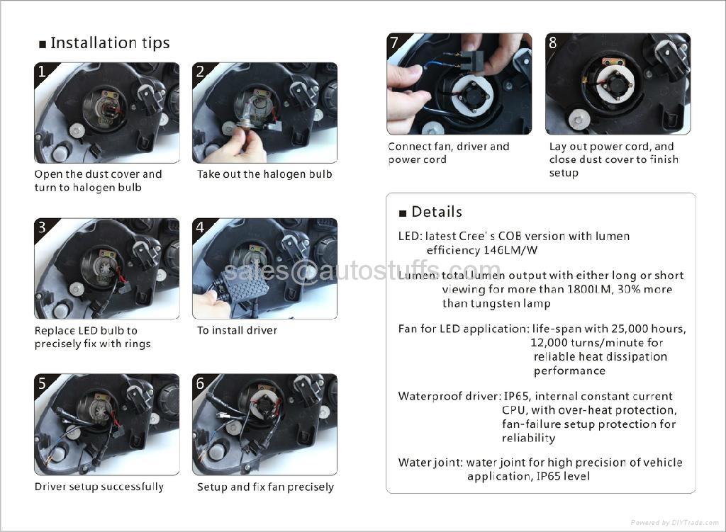 LED Car Cree Head Light Kit H7 50W 5