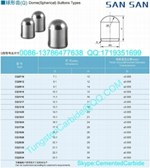Tungsten Carbide Dome(Spherical) Buttons Types