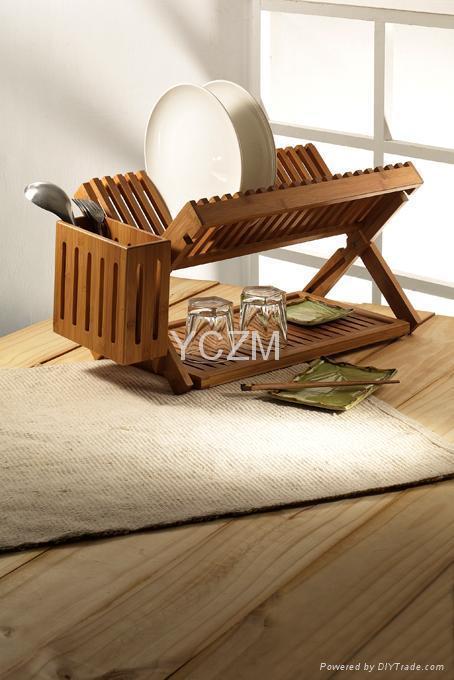 YCZM 竹製碗盤架(可折疊收納)