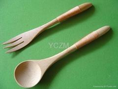 YCZM 碳化竹製湯匙叉子組(綁繩)