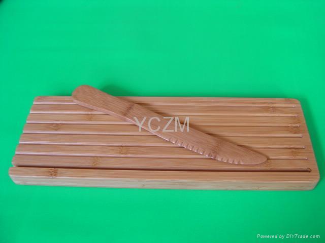 YCZM 竹製切麵包砧板和竹刀 1