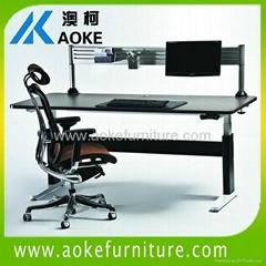 with crossbar adjustable height desks