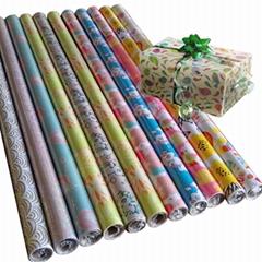 轻涂纸彩色印花礼品包装纸加工厂镀铝箔纸防水高档圣诞包装纸套装