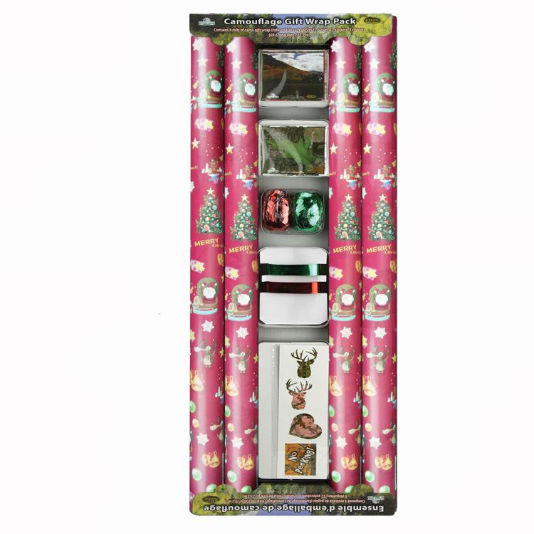 輕塗紙彩色印花禮品包裝紙加工廠鍍鋁箔紙防水高檔聖誕包裝紙套裝 4
