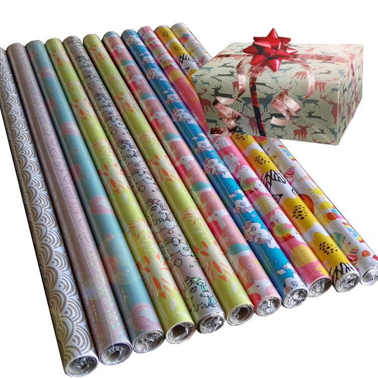 禮品包裝紙套裝80克銅版紙76cm x 3.05m彩色印花包裝紙 4