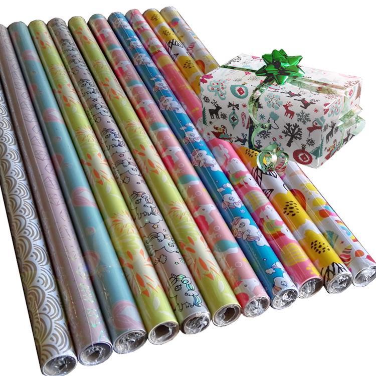 禮品包裝紙套裝80克銅版紙76cm x 3.05m彩色印花包裝紙 5