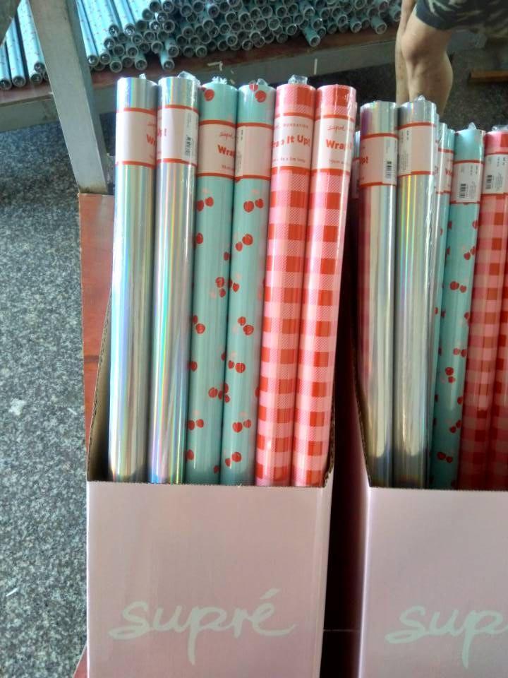 彩色印花禮品包裝紙套裝70cm x 2.5m 鐳射膜燙金 6