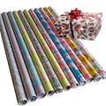 彩色印花禮品包裝紙套裝70cm x 2.5m 鐳射膜燙金 2
