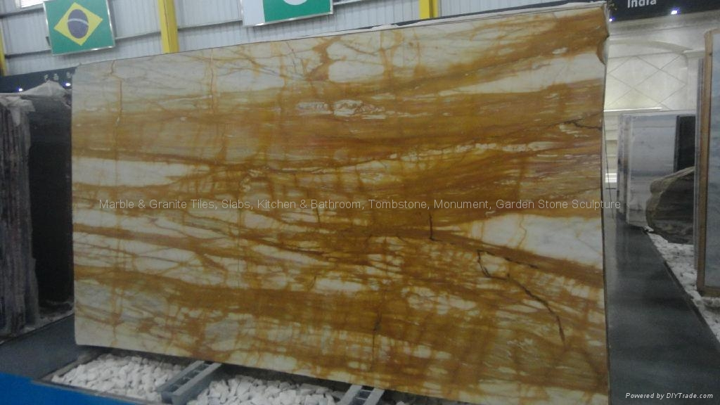 High Polished Italy Import A Grade Big Slab Stone Giallo Siena Marble 1