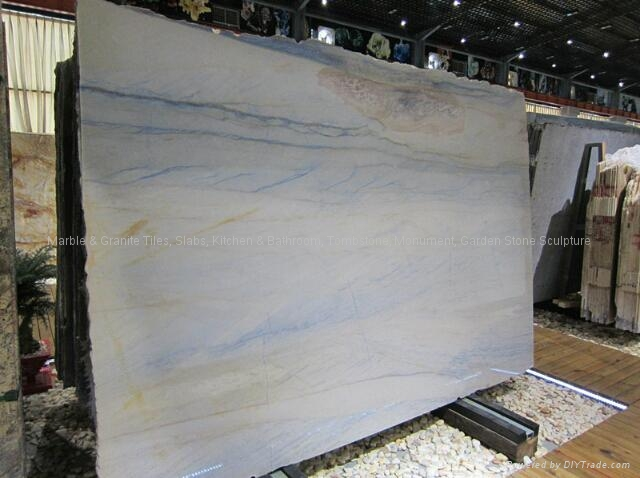 High Polished Brazilian Blue Vein Dining Table Marble 2