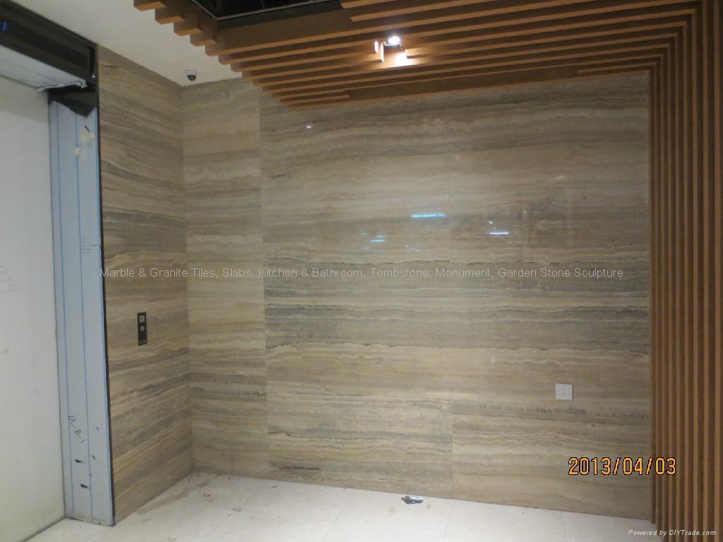 Travertine Stone Wall : Hotel project silver travertine polished wall union