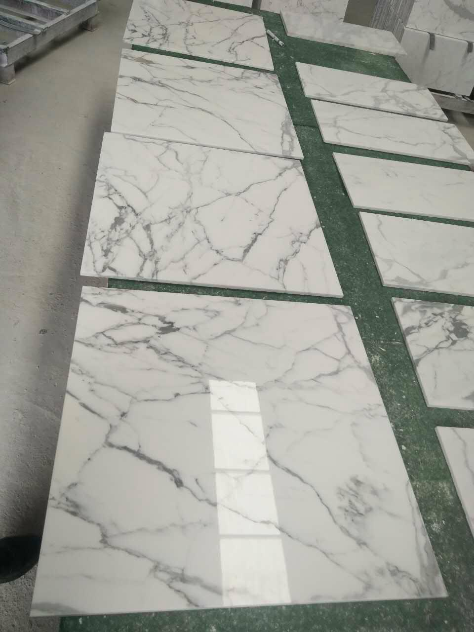 white calacatta 10mm thick marble tile 1