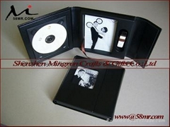 Wedding Leather Fabric  CD DVD USB Case Storage Box