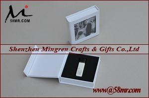 Magnet Wedding Linen USB Flash Drive Storage Packaging Gift Box 4