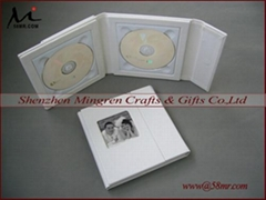 White Wedding Leather Fabric Linen CD DVD Case