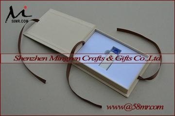 Magnet Linen USB Photo Stroage Gift Box with Elastic 3