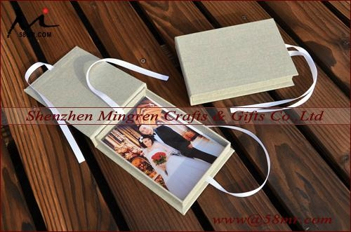 Magnet Linen USB Photo Stroage Gift Box with Elastic 5