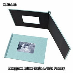 Leather Fabric Linen Cloth Clip Photo Book Cover with Clamp System