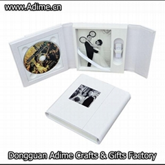 Wedding Leather Fabric CD DVD USB Case Packaging Box