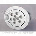 9 watt, With 9 LED's, LED light bulb, Round Ceiling Down light