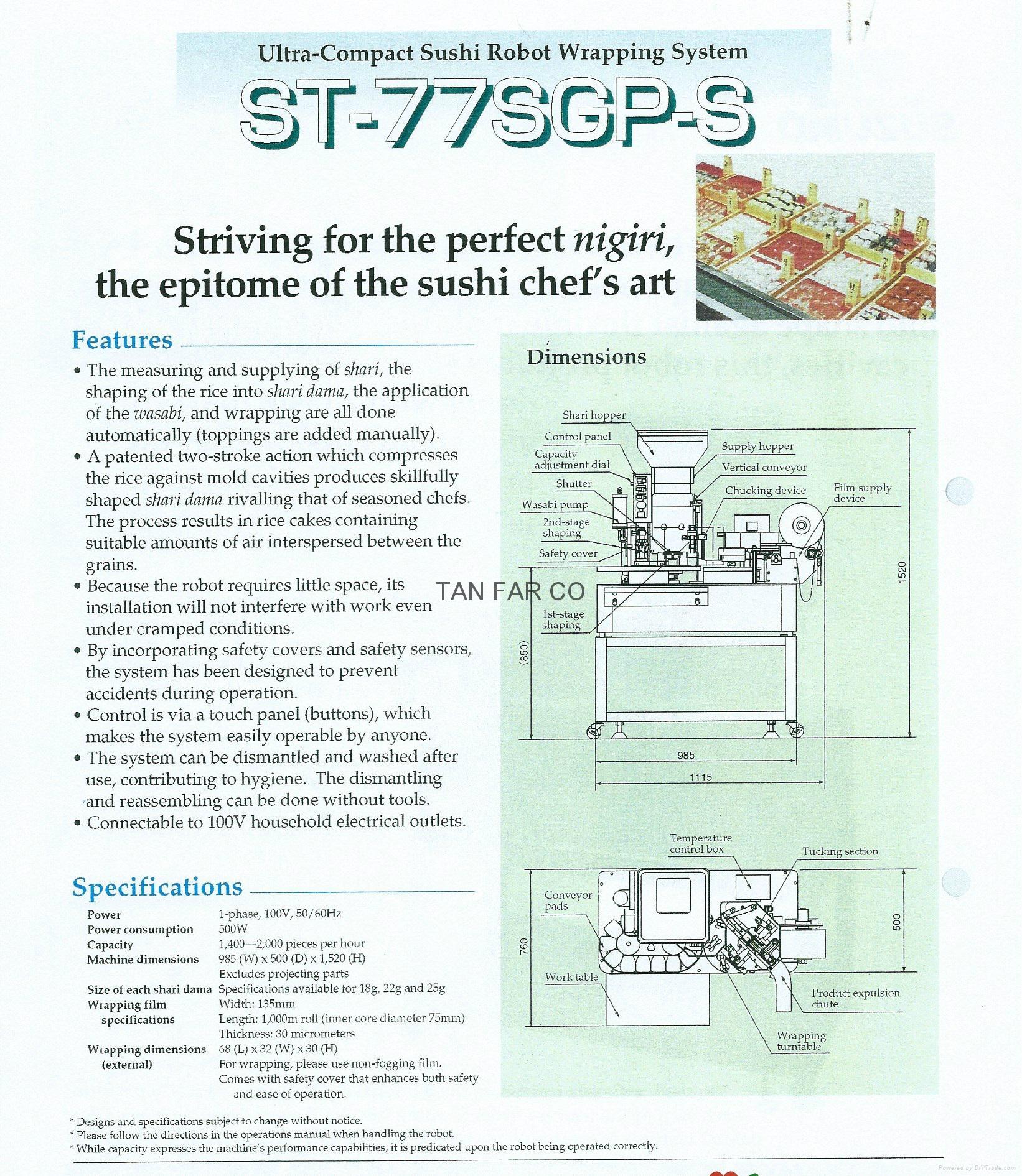 suzumo auto sushi nigiri forming & packing machine USED 2