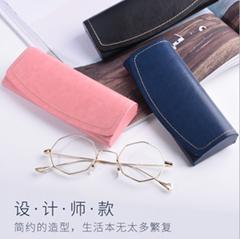 handmade PU leather custom logo eyeglasses glasses case