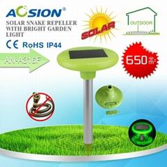 Solar snake repeller with bright garden light