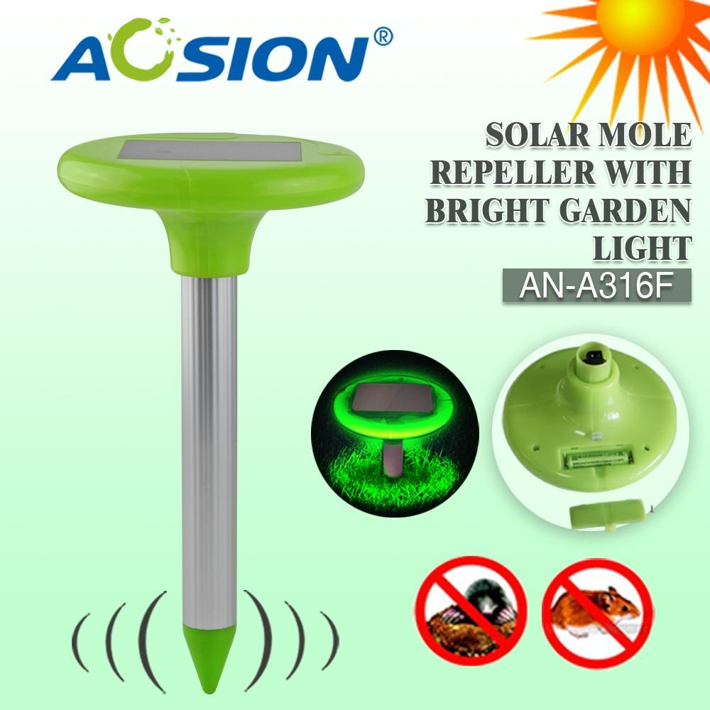 Solar rodent repeller with bright garden light