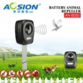 Description of products  1. A strong ultrasonic signal frighten animals. The sound is activated when animals enter the range. Thus, animals can not get used to the sound, and the repulsive effect is stronger, frequency from 17 to 30KHz. 2. The strong flashing is activated when animals enter the range, then the animals will be scared and give back.  3.Switch from O to O3 for different working modes    0: OFF   1: working 20 seconds, interval 50 seconds   2: working 20 seconds, interval 2 minutes   3: working 20 seconds, interval 5 minutes 4.Powered by 3*AA batteries or 5V DC adaptor or USB cable (can choose the length according to different requirements )                 5.With back hole for wall mounting or stick it into the soil with aluminum spike.       color box size: 9.0x6.8x14.5cm QTY :24pcs   N.W:5.7KGS   G.W: 6.7KGS MEAS.: 27.5x29.5x28cm