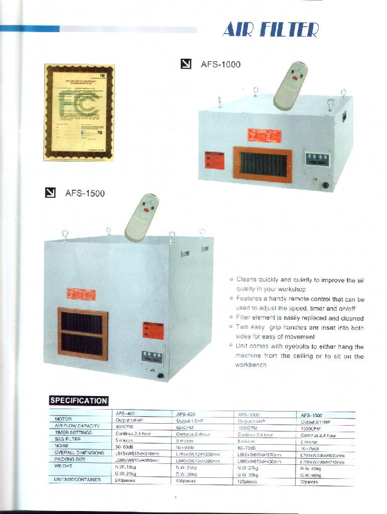 Air Filter,AFS-400,AFS-620,AFS-1000,AFS-1500