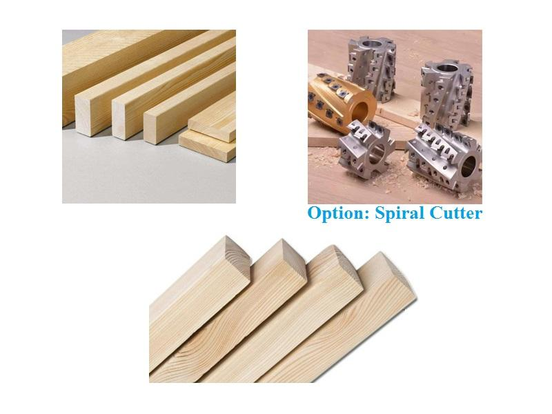 finished wood square and option spiral cutter