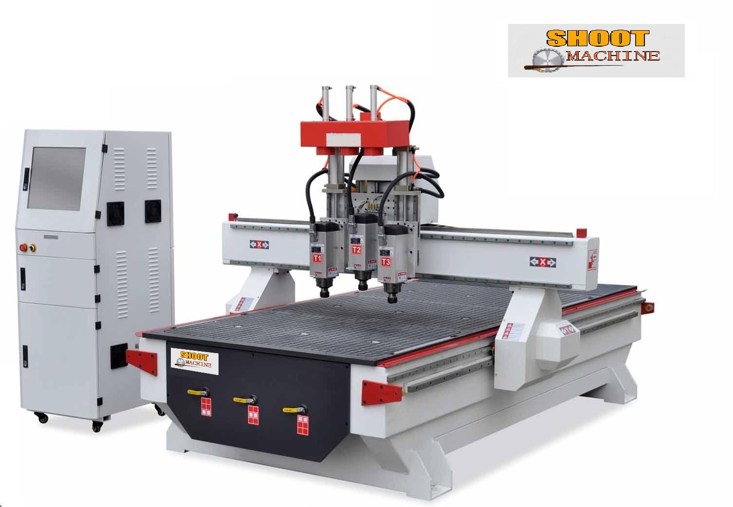 Heavy Duty Industry 3 Head CNC Woodworking Engraving Center Machine,SH-H3