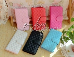 Luxury soft leather flip pouch wallet case cover for iphone 5 5G