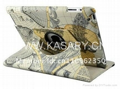 360 Degrees Rotating Stand Map Pattern Leather Case for iPad 2 3 4