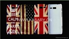 UK USA flag skull head Effiel tower tape  plastic hard case for Motorola XT890