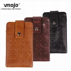 Belt Holster 2 in 1 Leather Case Pouch for 5.5inch Cell Mobile Phone for iPhone