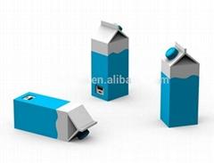 Promotional Custom Soft PVC shaped Milk Box Power Bank